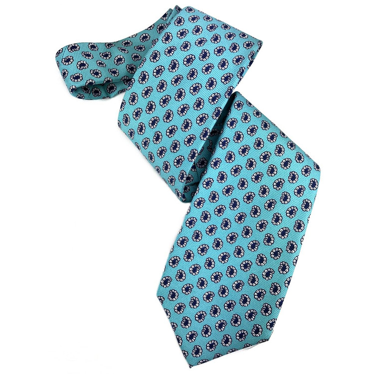 Aqua and Navy Neat Paisley Printed Silk Tie by Robert Jensen