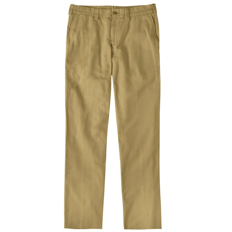 Weathered Canvas Pant - Model M3 Trim Fit Plain Front in British Khaki by Bills Khakis