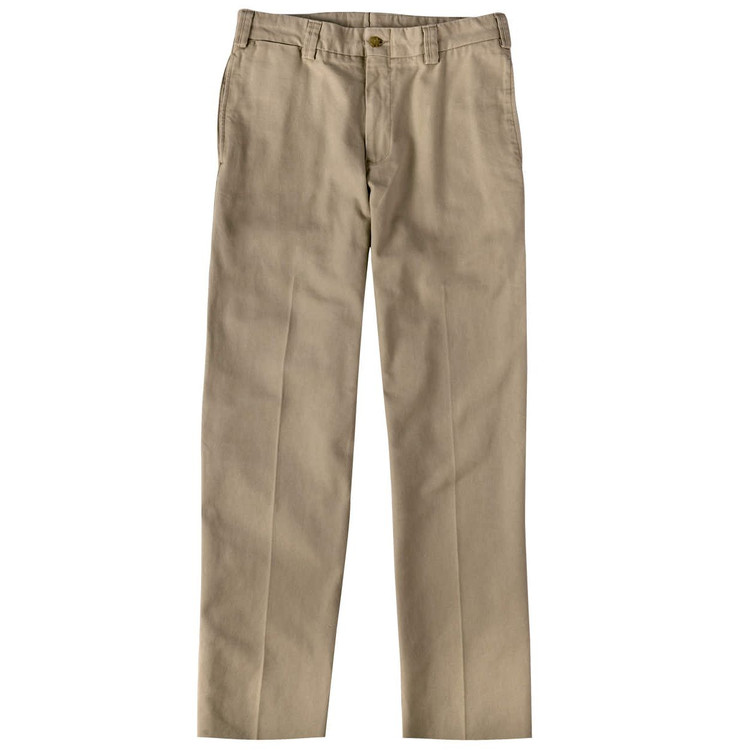 Weathered Canvas Pant - Model M2 Standard Fit Plain Front in Khaki by Bills Khakis