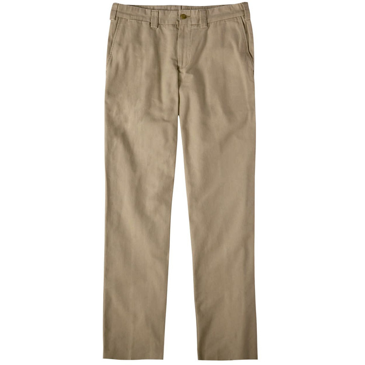 Weathered Canvas Pant - Model M3 Trim Fit Plain Front in Khaki by Bills Khakis