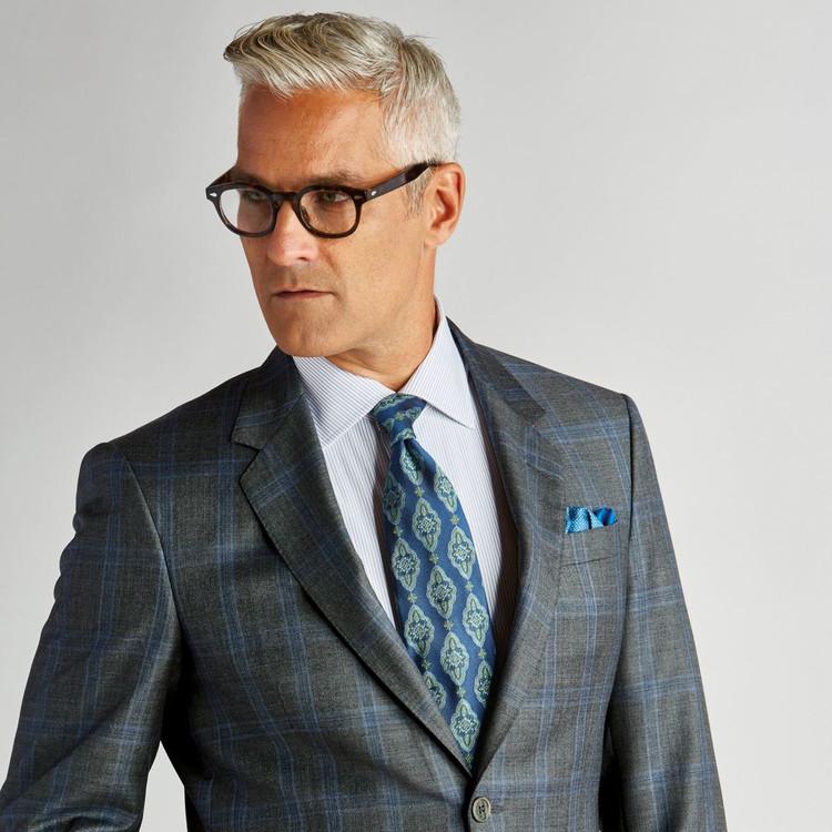 Spring 2017 Blue and Green 'Sudbury' Seven Fold Silk Tie by Robert Talbott