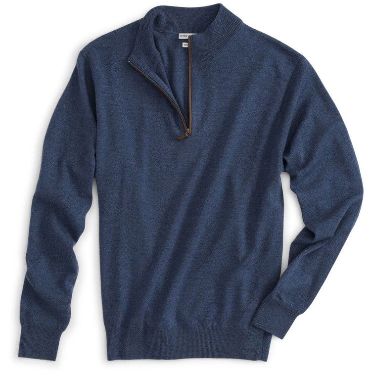 Italian Merino Quarter-Zip Sweater with Napa Leather Trim in Dusk (Size Large) by Peter Millar
