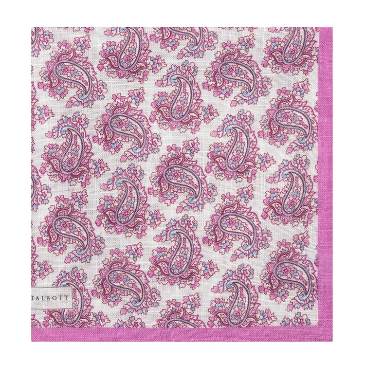 Pink and Blue Paisley Linen Pocket Square by Robert Talbott