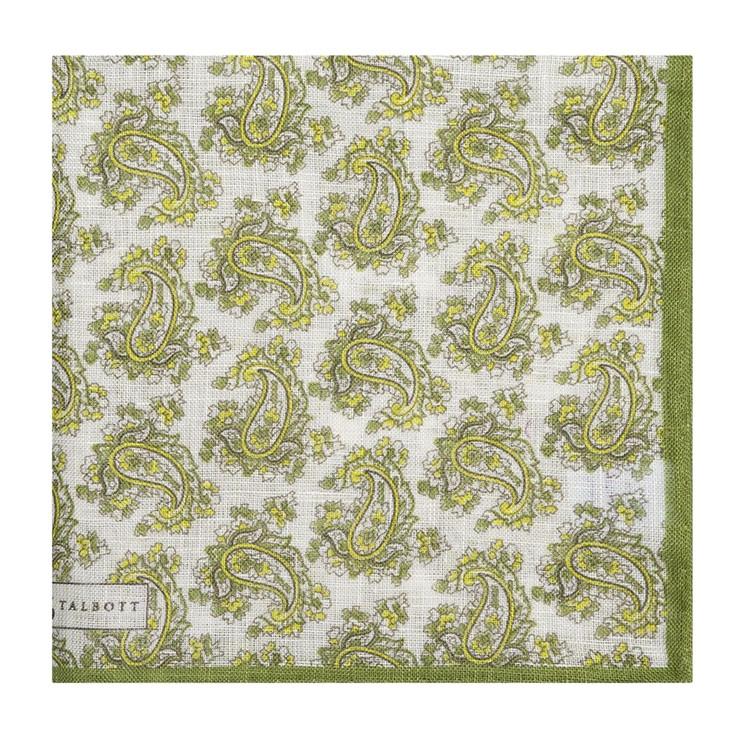 Olive and Lemon Paisley Linen Pocket Square by Robert Talbott