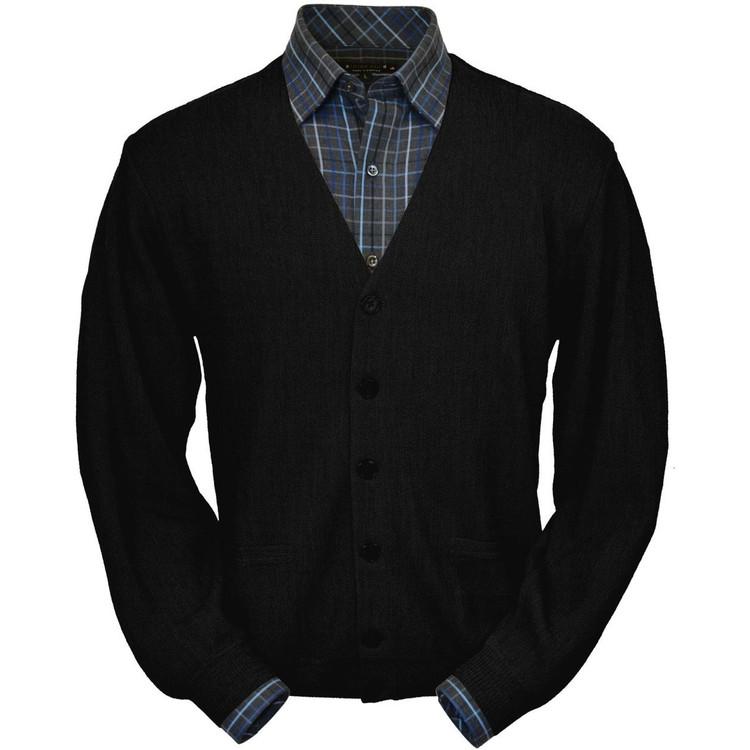 Baby Alpaca Link Stitch Cardigan Sweater in Black (Size Large) by Peru Unlimited