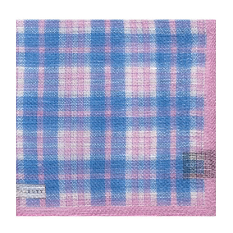 Blue and Pink Plaid Linen and Silk Blend Pocket Square by Robert Talbott