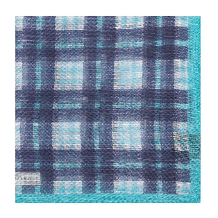 Navy and Aqua Plaid Linen and Silk Blend Pocket Square by Robert Talbott