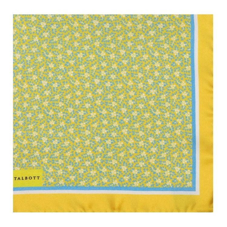 Lemon Mini Floral Silk Pocket Square by Robert Talbott