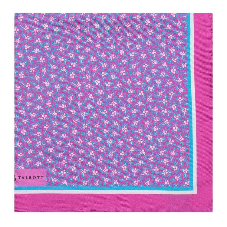 Pink Mini Floral Silk Pocket Square by Robert Talbott
