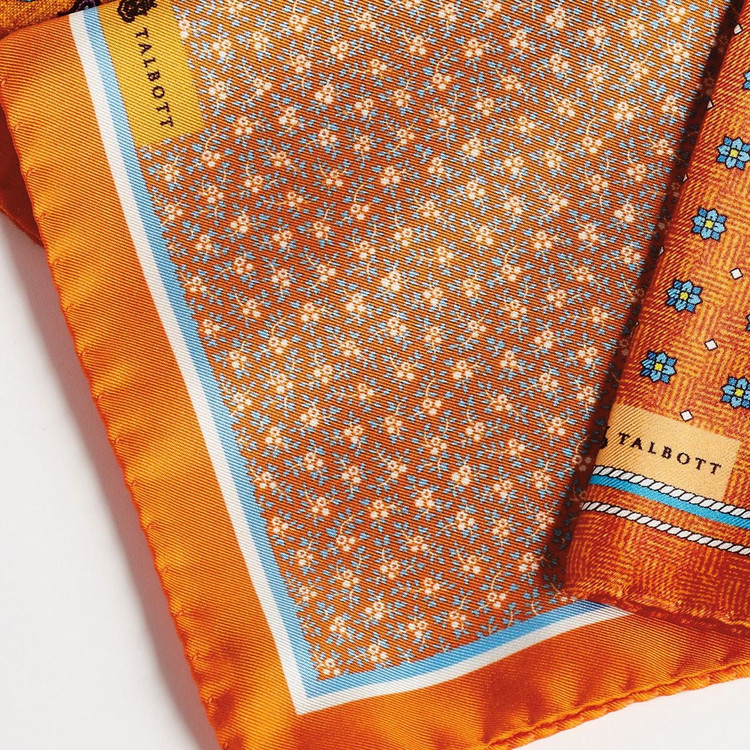 Orange Mini Floral Silk Pocket Square by Robert Talbott