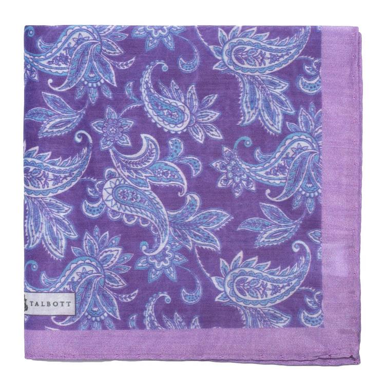 Spring 2017 Purple Paisley Cotton Pocket Square by Robert Talbott