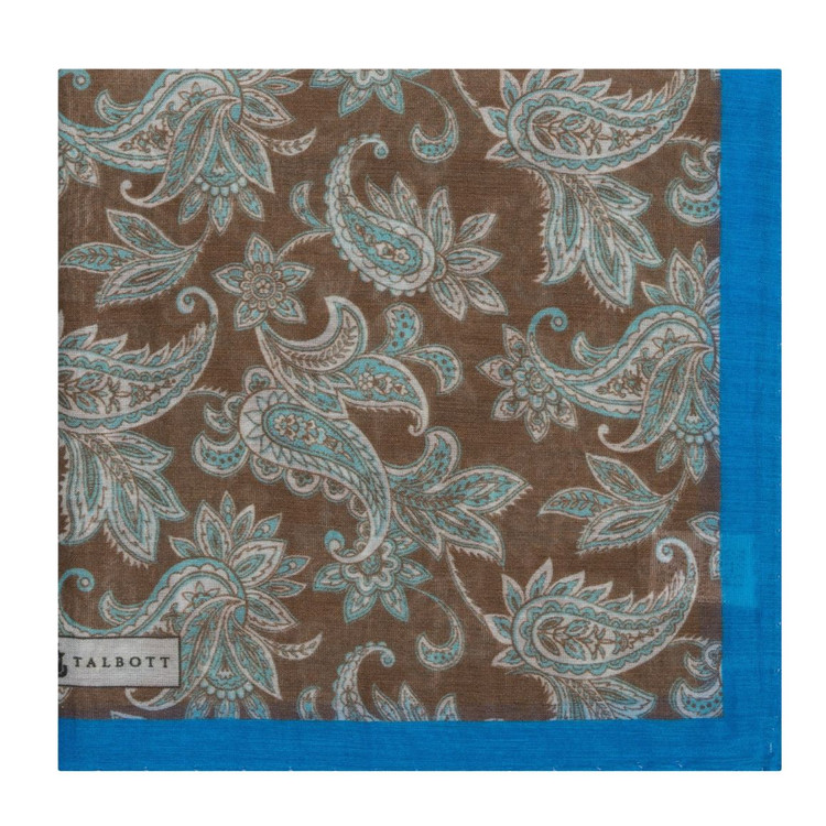 Brown and Blue Paisley Cotton and Silk Pocket Square by Robert Talbott