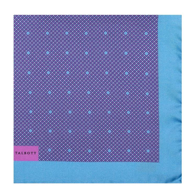 Spring 2017 Blue and Purple Geometric Silk Pocket Square by Robert Talbott
