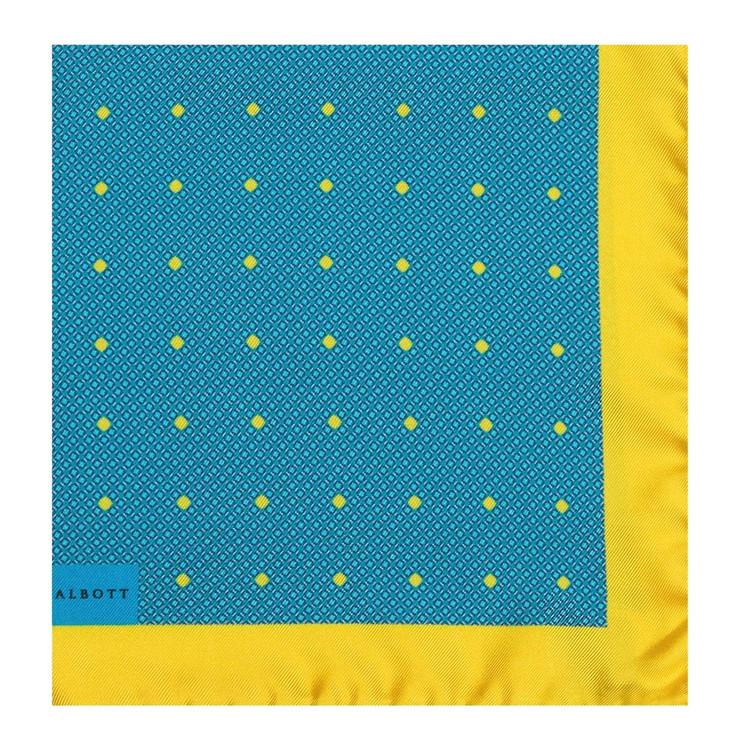 Lemon and Aqua Geometric Silk Pocket Square by Robert Talbott