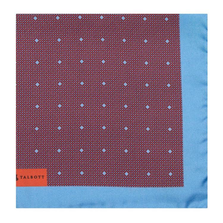 Blue, Red, and Orange Geometric Silk Pocket Square by Robert Talbott