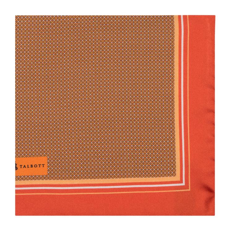 Spring 2017 Orange Geometric Silk Pocket Square by Robert Talbott