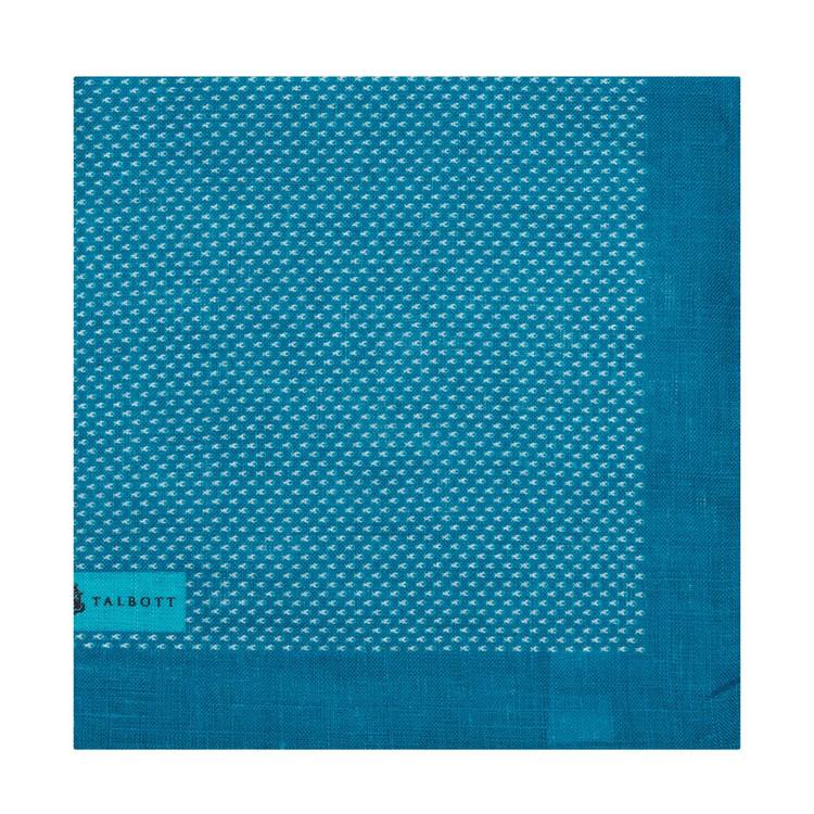 Spring 2017 Turquoise Mini Fish Linen Pocket Square by Robert Talbott