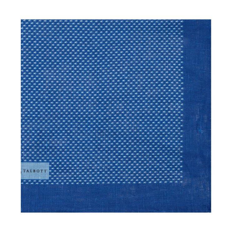 Spring 2017 Blue Mini Fish Linen Pocket Square by Robert Talbott