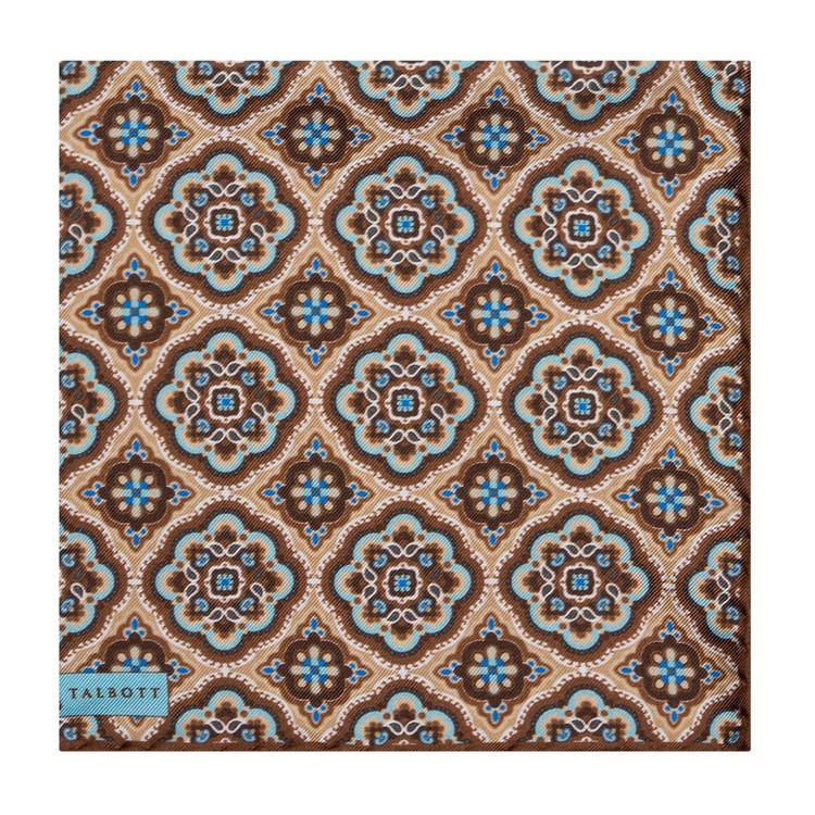 Spring 2017 Brown and Blue Geometric Medallion Silk Pocket Square by Robert Talbott
