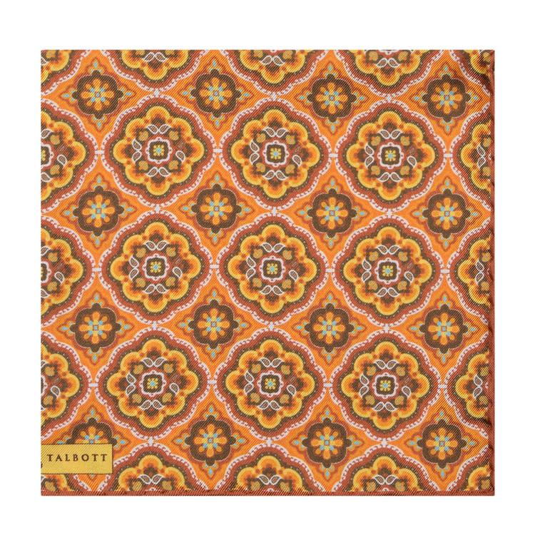Spring 2017 Orange and Brown Geometric Medallion Silk Pocket Square by Robert Talbott