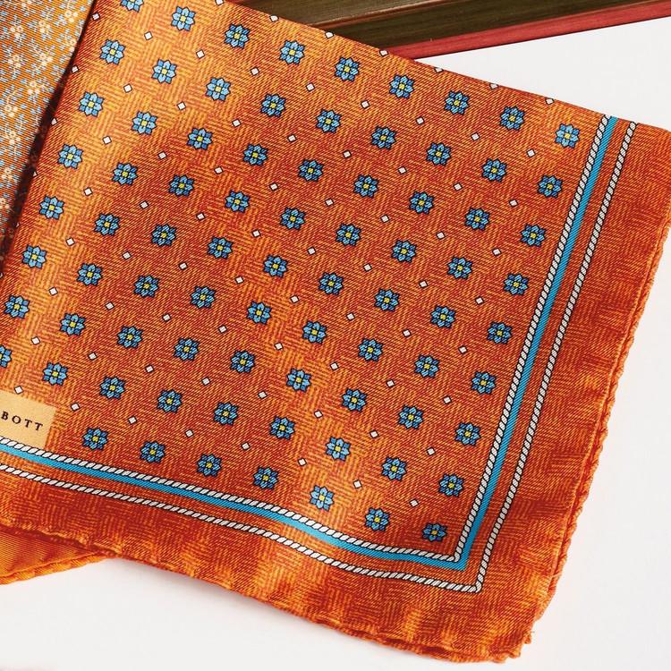 Spring 2017 Orange Neat Floral Medallion Silk Pocket Square by Robert Talbott
