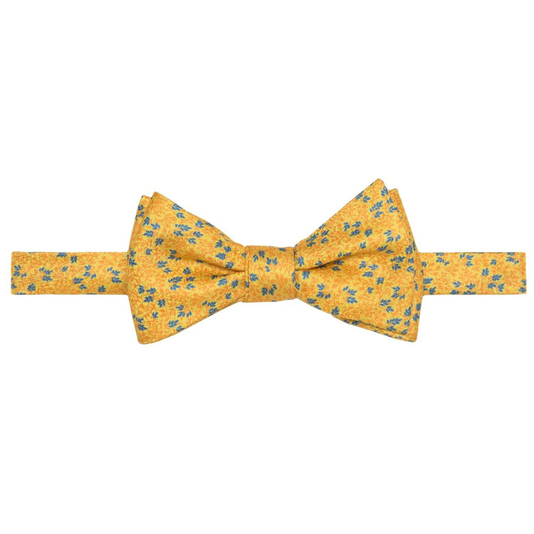 Best of Class Gold and Blue Mini Botanical 'Carmel Print' Hand Sewn Overprinted Silk Bow Tie by Robert Talbott