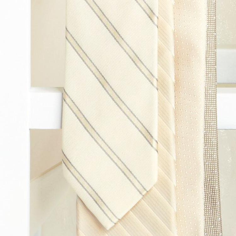 Spring 2017 Oyster Stripe 'Robert Talbott Protocol' Hand Sewn Woven Silk Tie by Robert Talbott