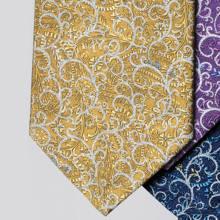 Spring 2017 Gold and Silver 'Regent' Seven Fold Silk Tie by Robert Talbott