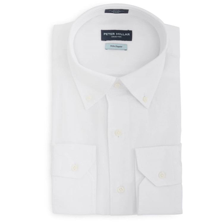Collection Perfect Pinpoint Dress Shirt with Button Down Collar in White (Size X-Large) by Peter Millar