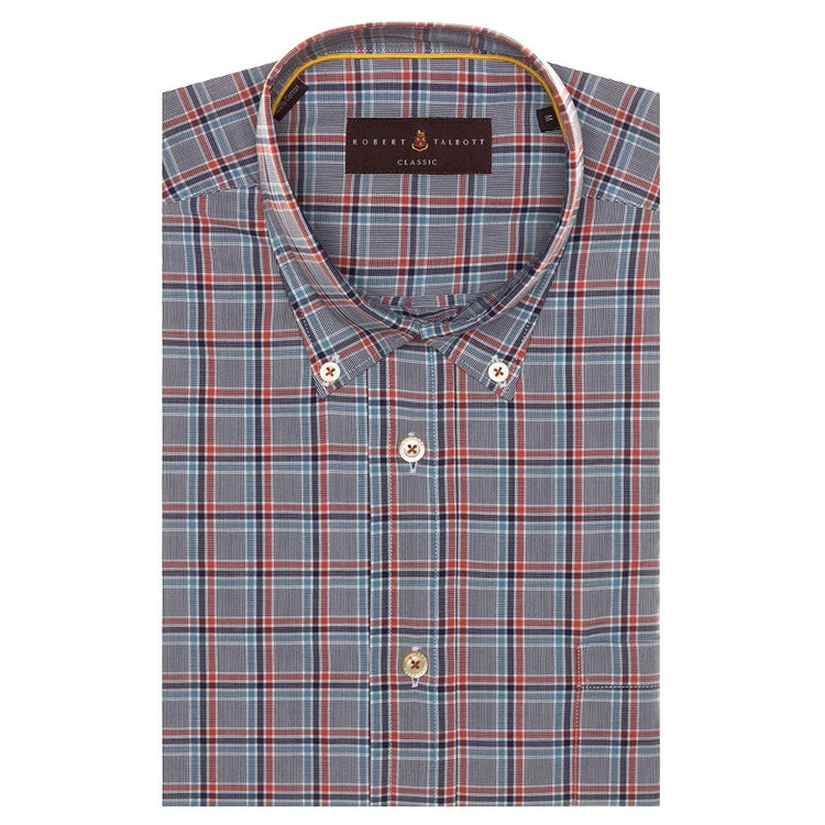 Spring 2017 Navy and Orange Plaid 'Derby' Sport Shirt by Robert Talbott