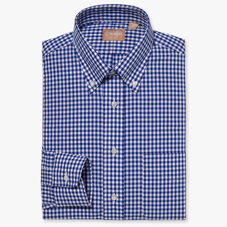 Gingham Check Broadcloth Shirt with Button-Down Collar in Blue by Gitman Brothers