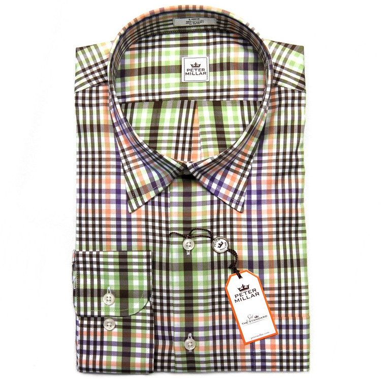 Exploded Plaid Sport Shirt in Spearmint (Size Medium) by Peter Millar