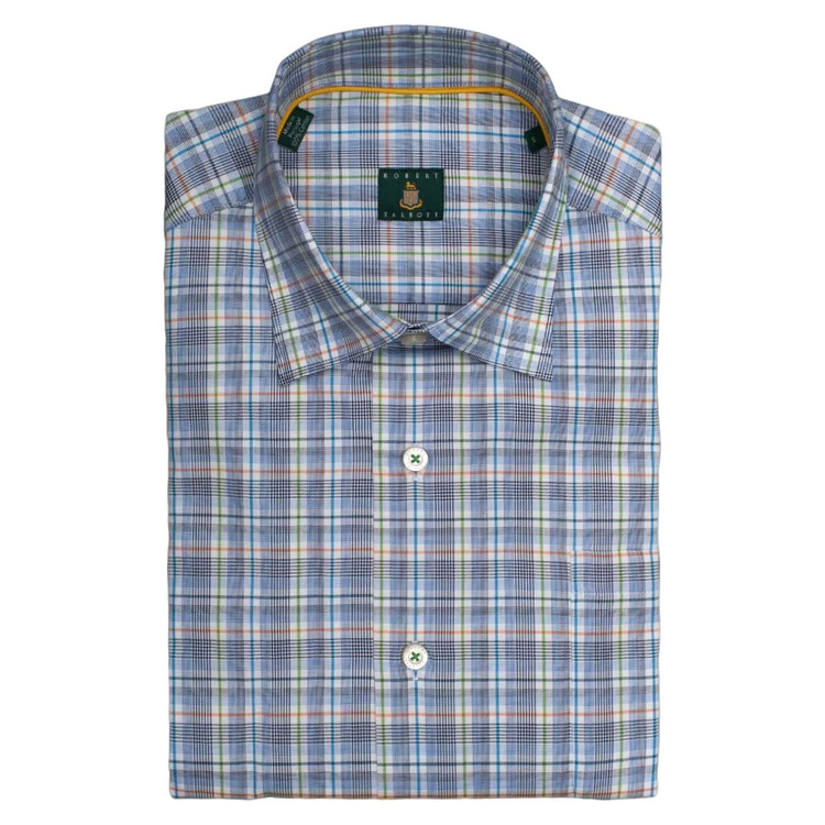 'Anderson' Plaid Sport Shirt in Nantucket Blue (Size Medium) by Robert Talbott