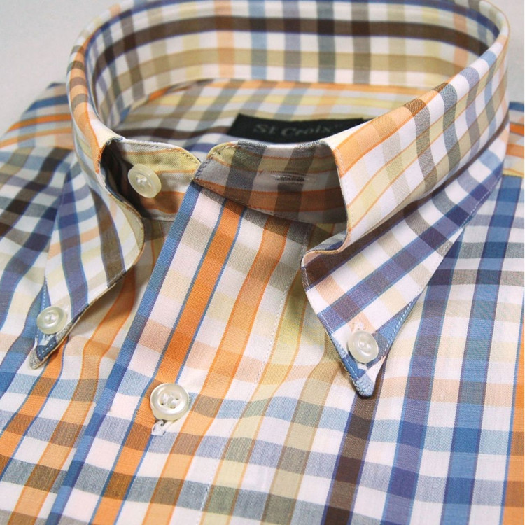 Orange, Blue, and White Check Sport Shirt by St. Croix
