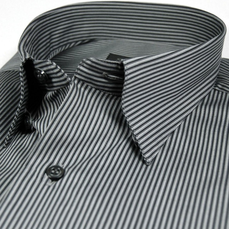 Black and Charcoal Stripe Sport Shirt (Size XX-Large) by St. Croix