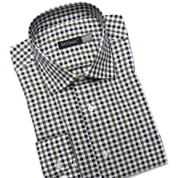Cypress Green and White Check Sport Shirt by St. Croix