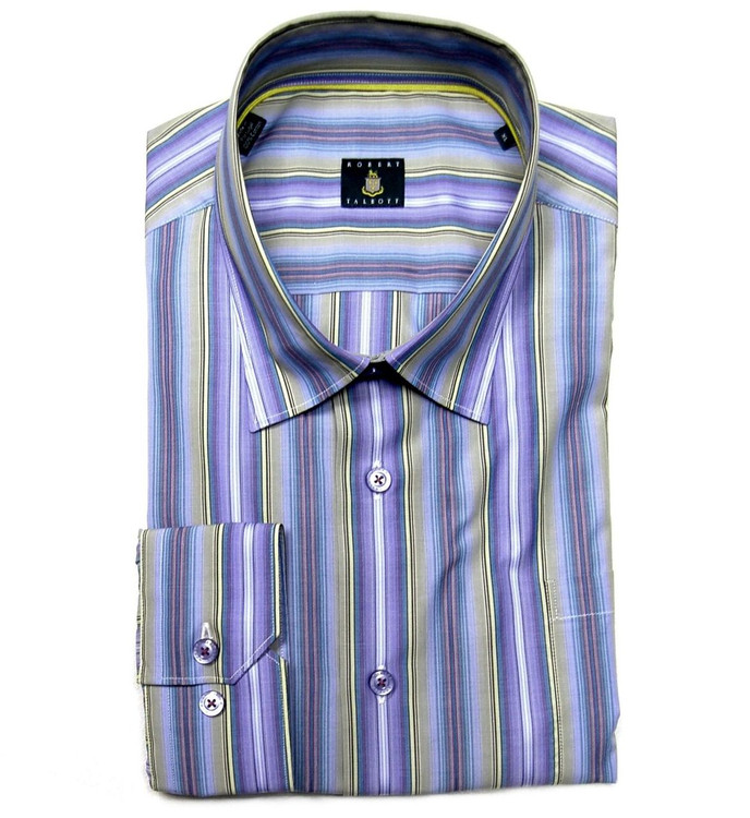 Blue, Lilac, and Lemon 'Anderson' Stripe Sport Shirt by Robert Talbott