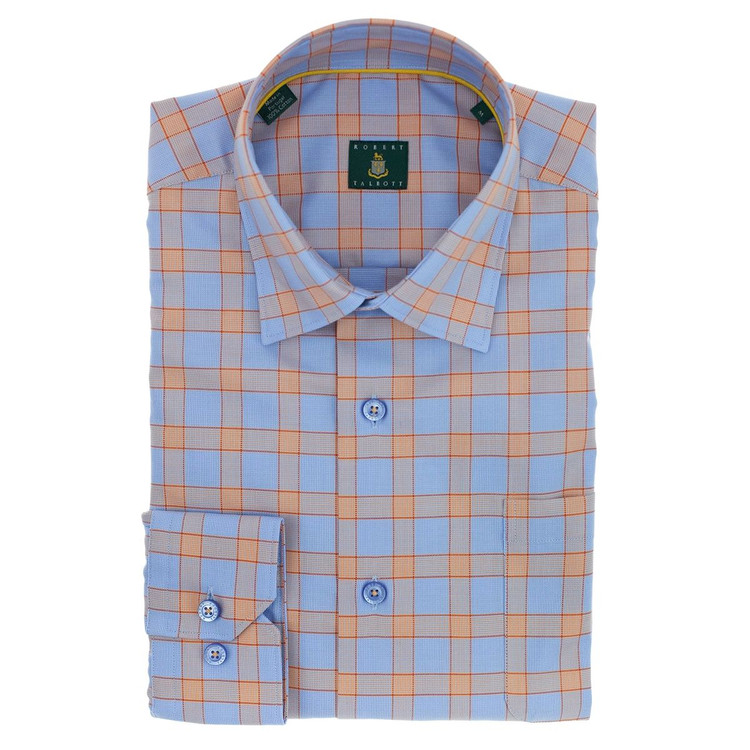Sky and Melon 'Anderson' Check Sport Shirt (Size Medium) by Robert Talbott