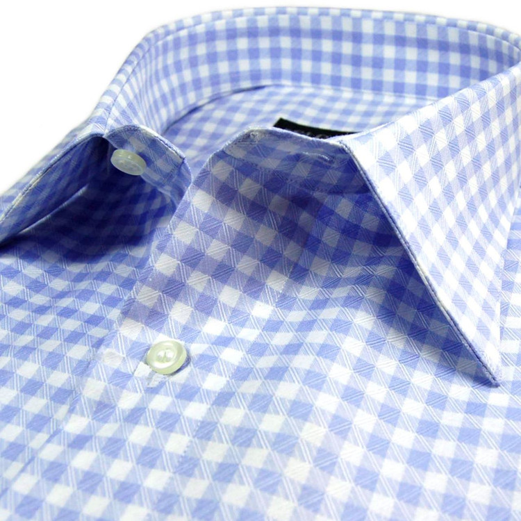 Sky and White Check Sport Shirt (Size X-Large) by St. Croix