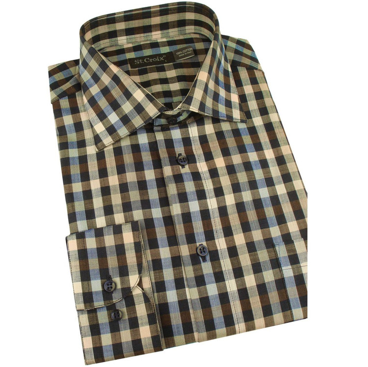 Multi Check Long Sleeve Sport Shirt in Tan Mix (Size Large) by St. Croix