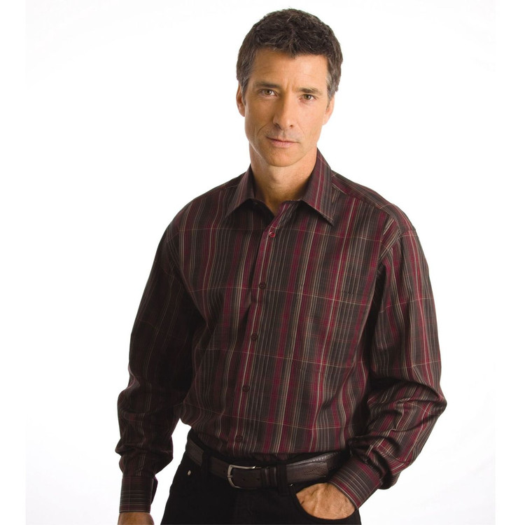 Rouge, Ebony, and Brown Plaid Sport Shirt (Size XX-Large) by St. Croix