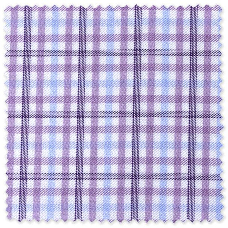 White, Sky, Lavender, and Plum Check Custom Dress Shirt by Robert Talbott
