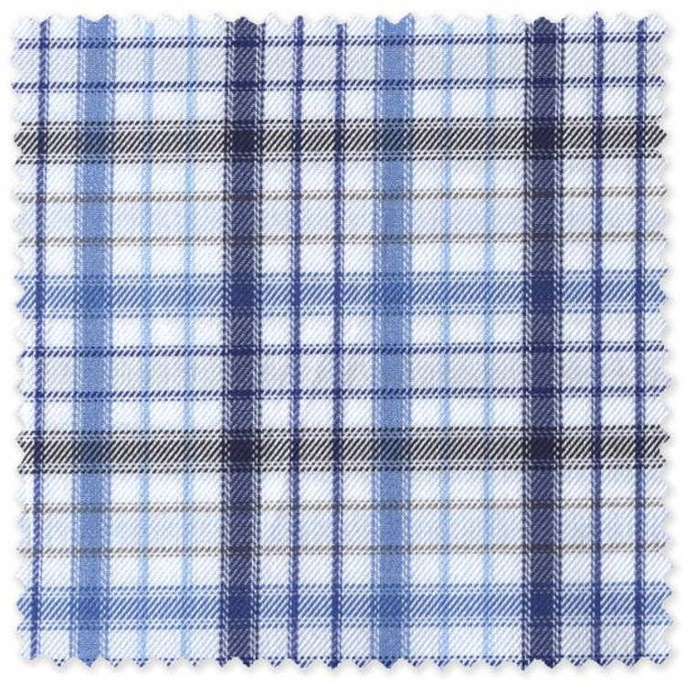 Navy, Brown, and Blue Check Custom Dress Shirt by Robert Talbott