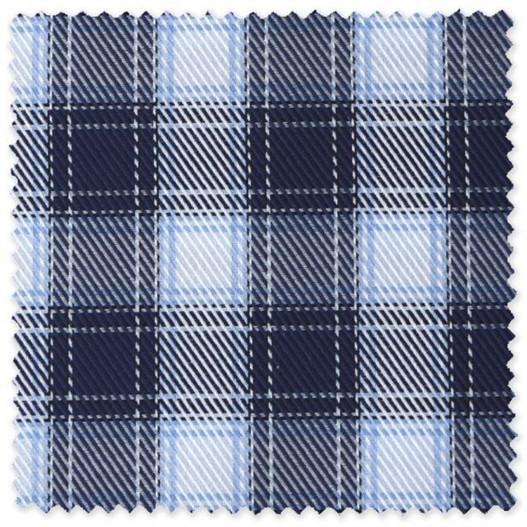 Navy, White, and Blue Plaid Custom Dress Shirt by Robert Talbott