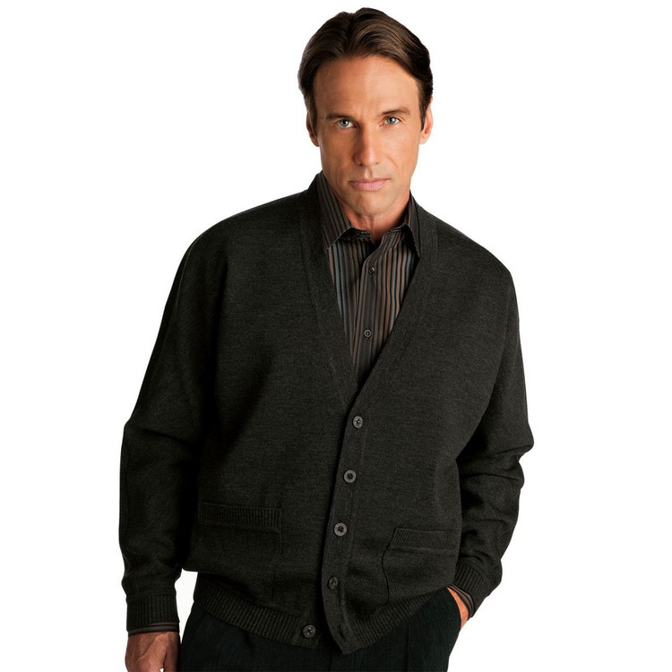 Classic All Wool V-Neck Cardigan in Black by St. Croix