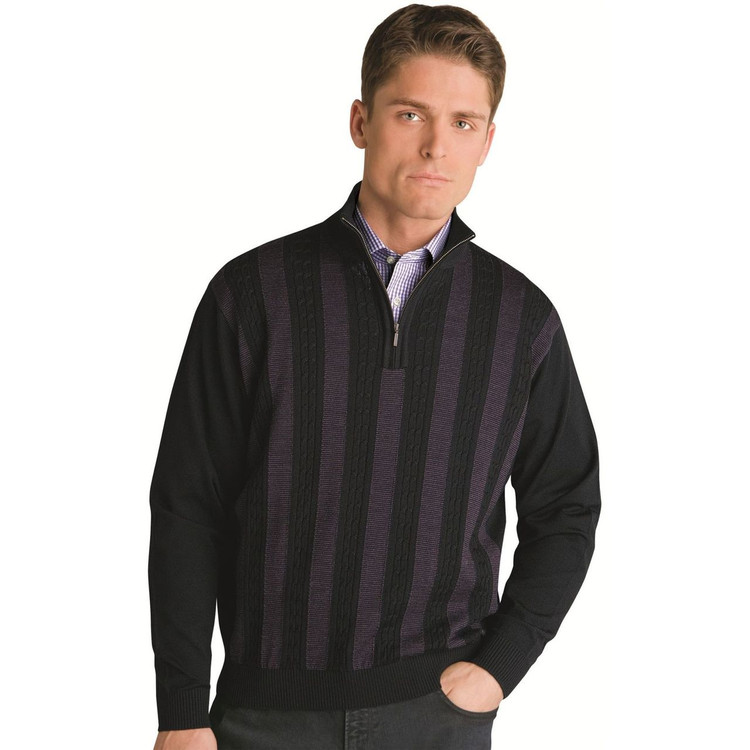 Mini Cable Merino Wool Half Zip Pullover in Black by St. Croix