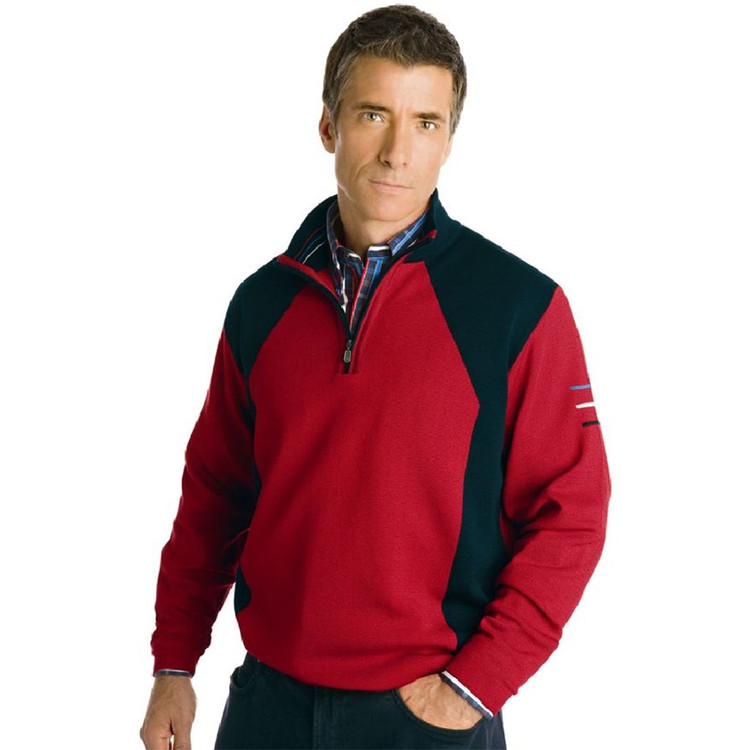 Cotton Blend Contrast Color Half-Zip Pullover by St. Croix