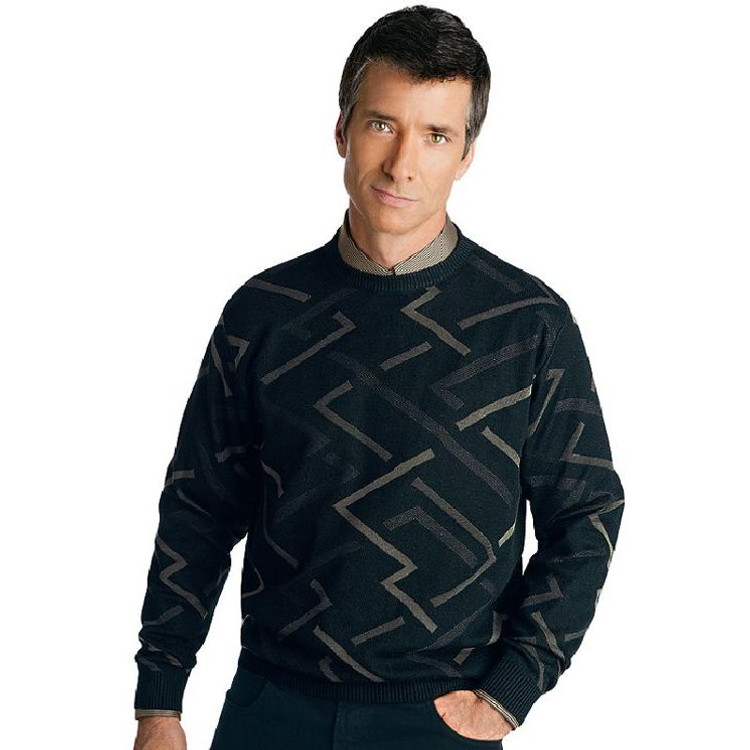 Geometric Patterned Cotton and Silk Pullover in Black by St. Croix