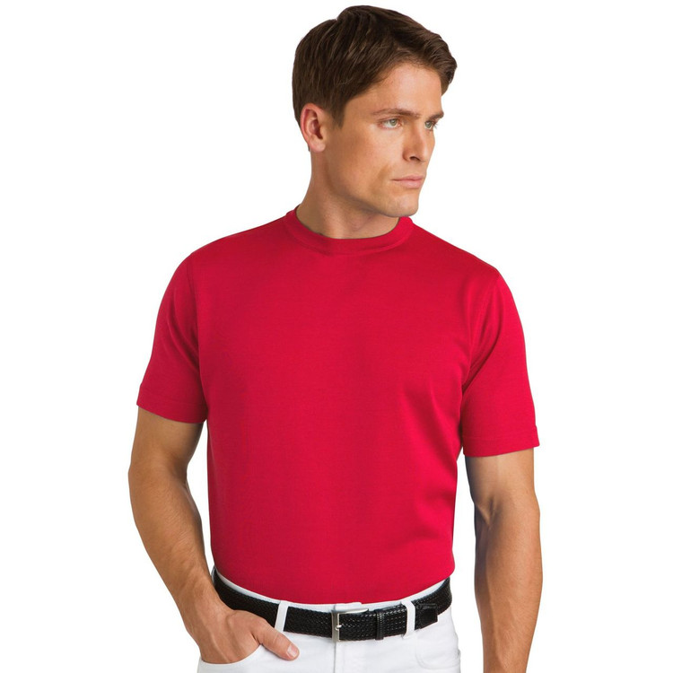Straight Bottom Cotton and Microfiber T-Shirt in Red (Size X-Large) by St. Croix