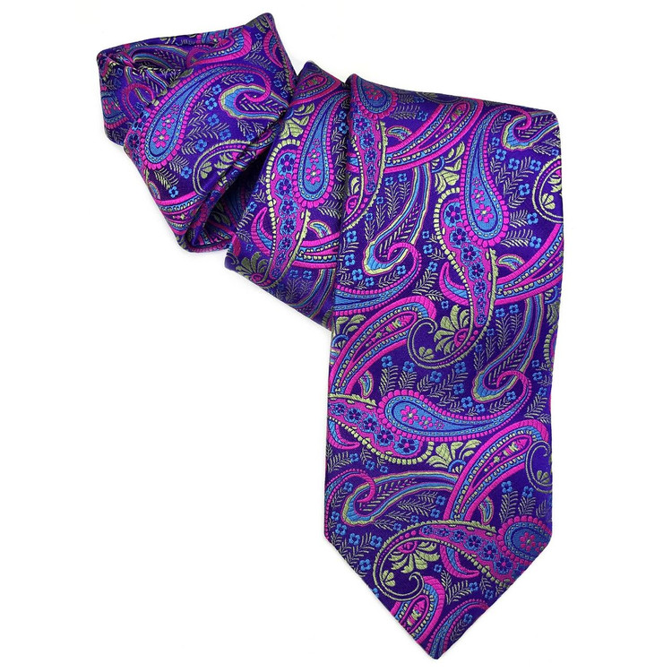 Spring 2017 Best of Class Purple, Green, and Pink Paisley 'Heritage' Woven Silk Tie by Robert Talbott